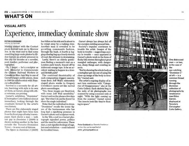 2009 (may) Toronto Star Experience immediacy dominate show Peter Goddard