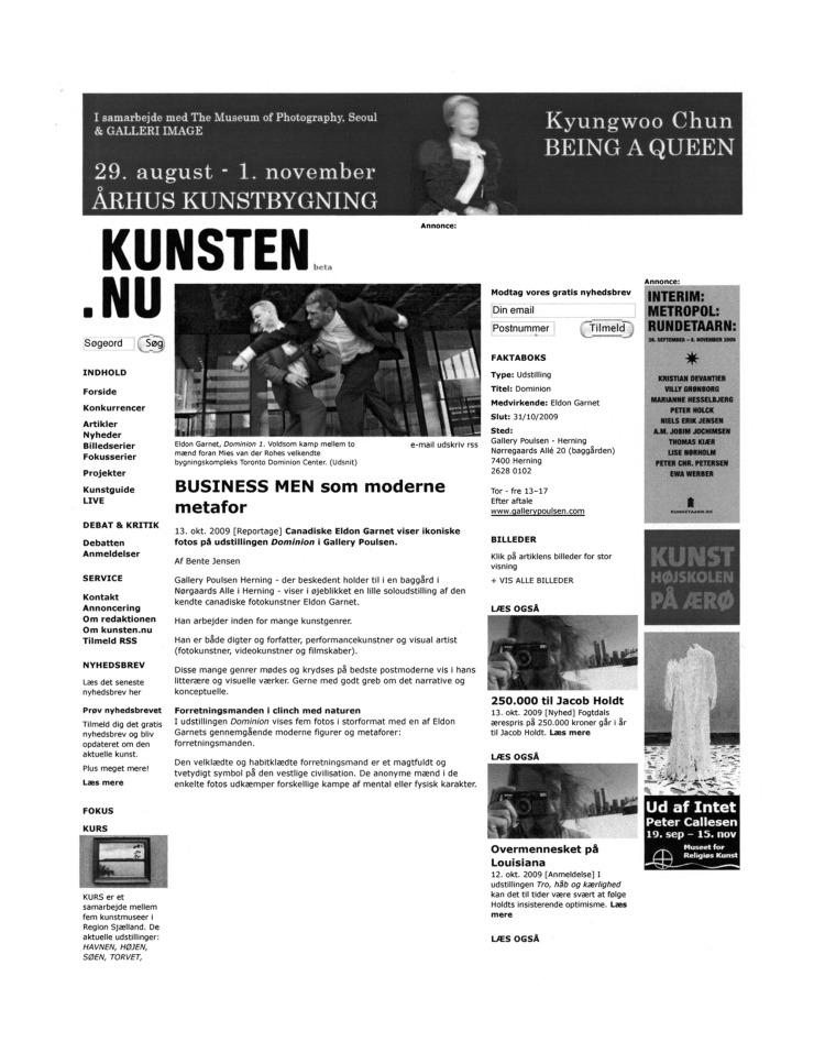 2009 (october) Business But as Modern Metaphor (danish) KUNSTEN.NU Bente Jensen 1 of 3