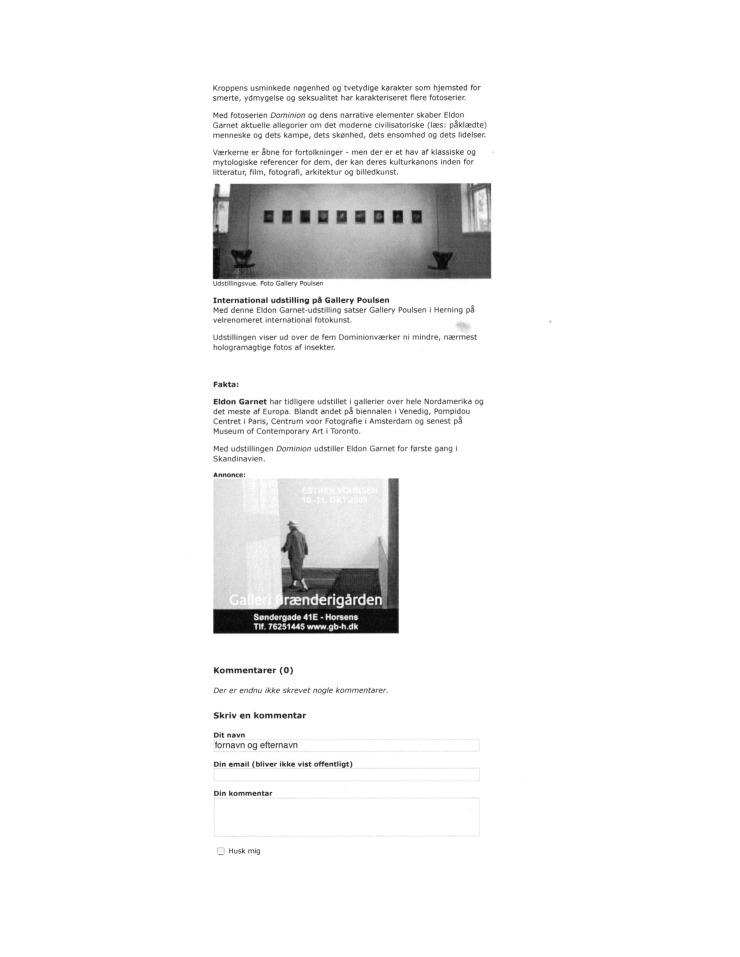 2009 (october) Business But as Modern Metaphor (danish) KUNSTEN.NU Bente Jensen 3 of 3